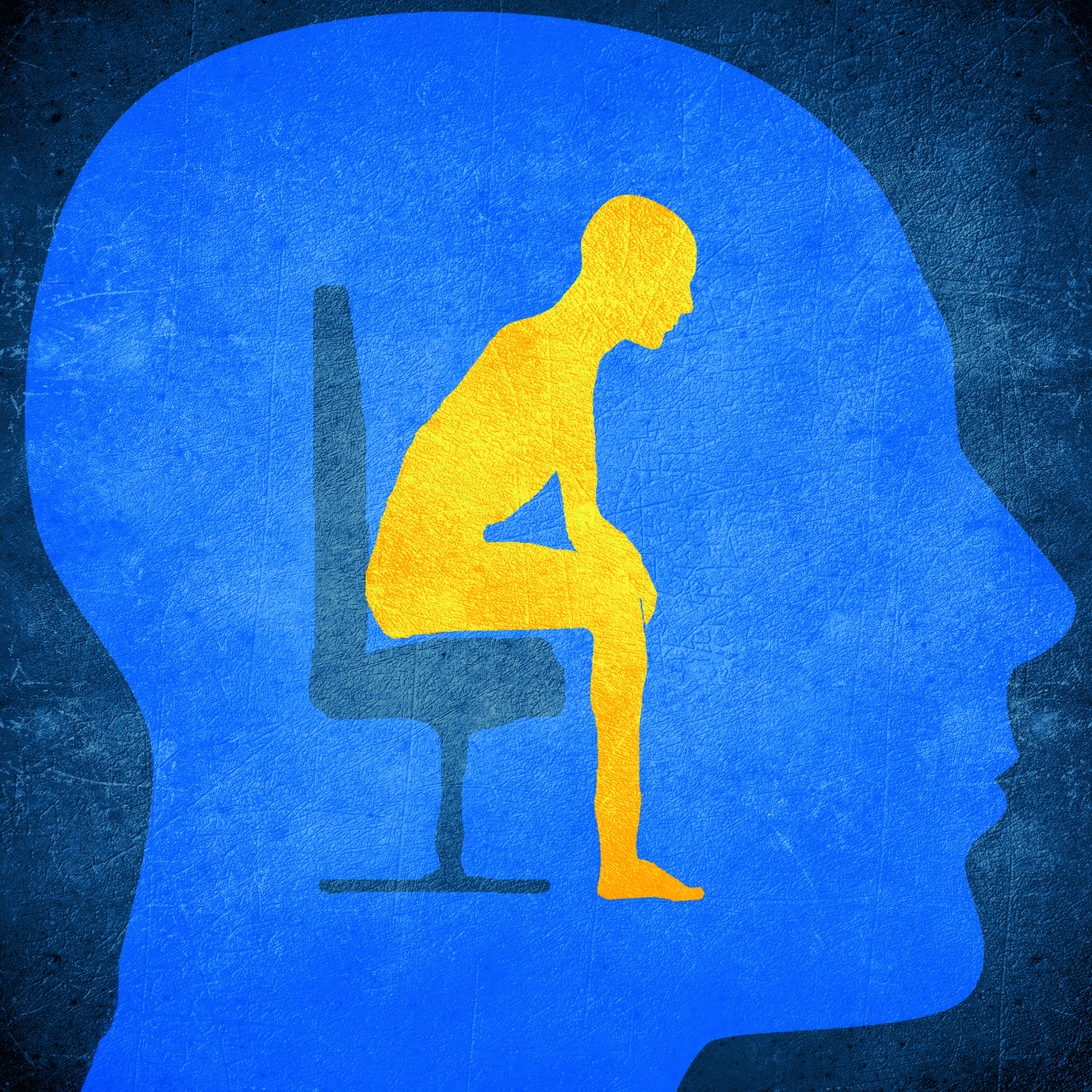 blue human head silhouette with a man sitting inside psycology concept